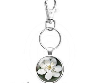 Sweet Magnolia Bloom Key Ring  - Fine Art Photograph - Your Choice of Finish
