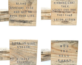 Rude Pallet wood coasters. Coaster  Gift Handstamped Unique Wood coasters. Funny Coasters. Set of 4 Housewarming gift. Hostess gift