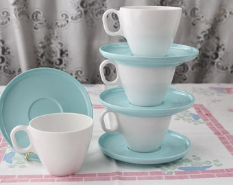 Aztec Melmac and Somerset Booton Cups and Saucers Set in Teal and White
