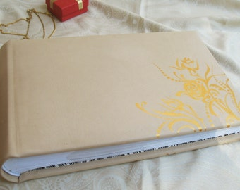 large leather wedding photo album – wedding gift - handmade cream and gold leather album for 100 photos
