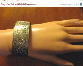 SALE Etched Vintage Silver Cuff Bracelet-1970's