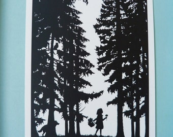 Little Red Riding Hood Silhouette Print, Fairy Tales of the Brothers Grimm Black & White Monochrome Art Scherenschnitte Style illustration