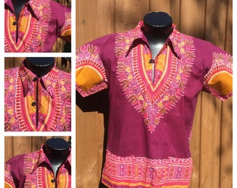 VINTAGE 1960-70s  -- Collared DASHIKI -- 70s Butterfly Collar -- Dutch Java Print Fabric