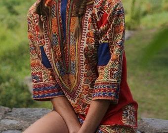 African Textile Cotton Tunic/. 60's Mod Mini., Bohemian Dress.