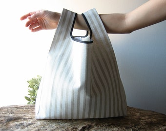 striped hand bag / cotton lunch bag / beige and white stripes / minimalist bag / baby shower gift / gift for her / women accessories