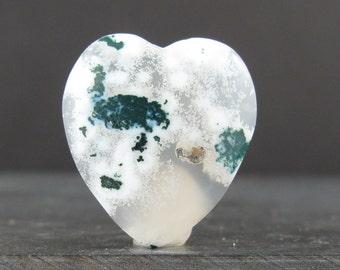 Heart shape green moss agate cabochon S6808