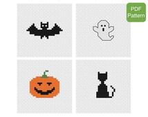 Cross Stitch Mini Motifs Pattern - Halloween, Bat, Ghost, Pumpkin, Black Cat, DIY Craft Project, Spooky Home Decor, INSTANT DOWNLOAD