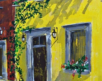 "Original painting Spring light on Mexican house with flowers in San Miguel de Allende Mexican town original art acrylic on board 11 ""x 14"""