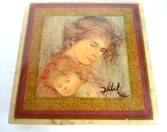 Painting by Hibel  Jewelry / Trinket Box Mother and Child on Lid Mothers Day Gift Wedding Ring Presentation Jewelry Storage Gift Box