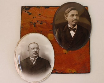 French Antique Portraits...TWO Beautiful Images Fired onto Convex Copper...RARE Technique...1800s.