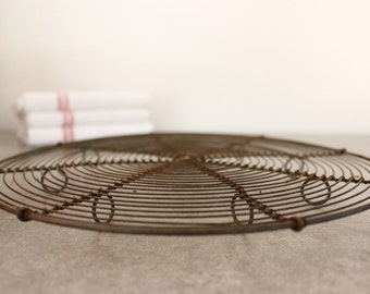 """Vntage French Wire Cooling Trivet...Diameter 11""""...Nordic Living...Shabby Chic...Rustic Kitchen"""