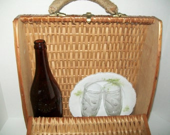 Vintage Wicker Wine Basket Picnic Basket Wine Tote