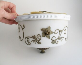 Vintage Ceiling Light Flush Mount Fixture Art Deco Porcelain Rose Brass Accents Double Bulb
