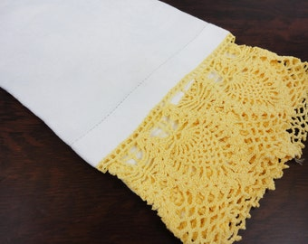 Linen Damask Guest Towel With Wide Gold Crocheting