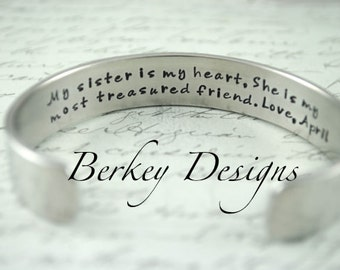 My Sister is my Heart. She is My Most Treasured Friend. Secret Message Hand Stamped Bracelet- Personalized