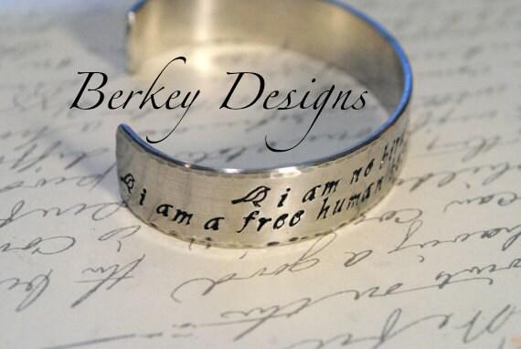 I am No Bird Charlotte Bronte, Jane Eyre Hand Stamped Cuff Bracelet