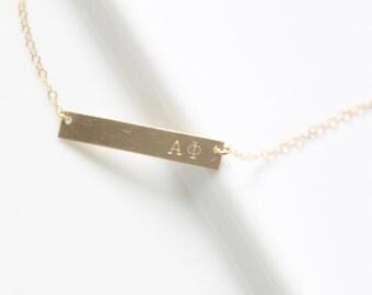 ALPHA PHI Sorority Necklace - Greek Jewelry - Hand Stamped Bar Necklace - Gold Filled, Sterling Silver - Licensed Designer