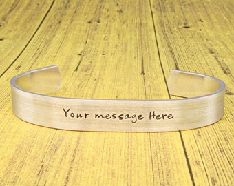 Wife Gift | Sister Gift | Friend Gift | Personal Gift | - YOUR MESSAGE HERE - Hand stamped aluminum cuff - by iiwii emporium