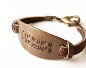Personalized Father's Day Bracelet. Custom Coordinates. Latitude Longitude Bracelet. GPS Coordinate Bracelet.