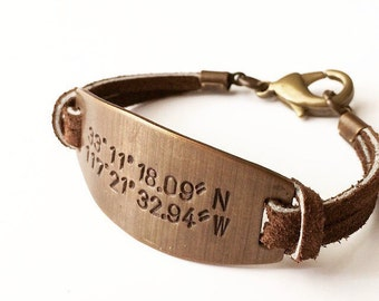 Personalized Father's Day Bracelet. Custom Coordinates. Latitude Longitude Bracelet. GPS Coordinate Bracelet.