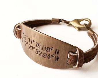 GPS Coordinate Bracelet. Valentine Gift for Him