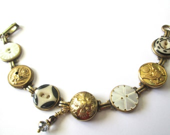 ARMY antique button bracelet. 1800s buttons. One of a kind