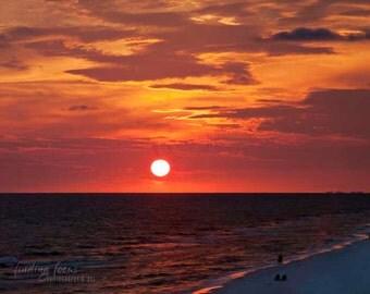 Gulf Coast Beach Sunset Photography, Setting Sun Golden Twilight Print, Evening Sky Red Orange Clouds, Sea & Sky Cottage Decor, 30A Seaside