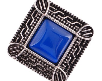 1 PC - 18MM FLAW - Blue Cat's Eye Rhinestone Silver Snap Candy Charm Kc7037 Cc2138