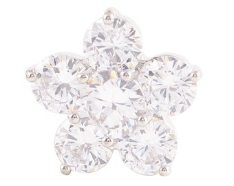 1 PC - 18MM White Flower Rhinestone Silver Charm for Candy Snap Jewelry KC9013 Cc2262