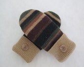 Child's mittens gender neutral multistriped lambswool fleece lined age 6-8 RTS