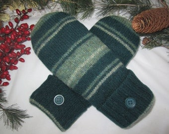 Women's wool mittens striped shades of green fleece lined  RTS
