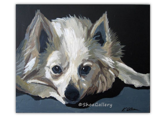 Boyfriend gift for him ORIGINAL painting wall art animal portrait artwork pet dog black and white dining living room bedroom office artwork