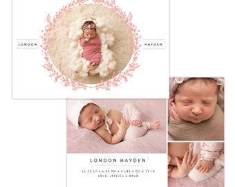 INSTANT DOWNLOAD - Photoshop Birth announcement template -  e1296