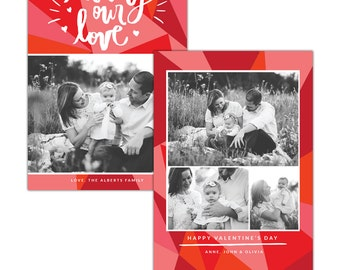 INSTANT DOWNLOAD - Valentine Photocard Template - e1254