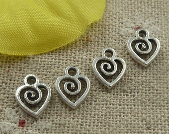 20 Heart Charms Antique Silver Tiny Charms 10 x 8 mm Double Sided U.S Seller - ts826