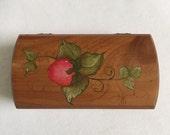Vintage Cedar Miniature Treasure Chest Strawberry Hand painted Jewelry Box Keepsake Box Storage Memento Souvenir Box Du Quoin Illinois