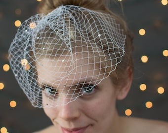 Bridal Birdcage Veil~ rhinestone bridal veil, wedding veil, birdcage veil, bridal headpiece, wedding headpiece, wedding birdcage veil