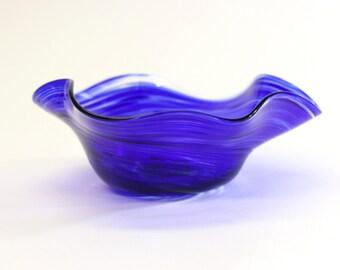 Wavy Bowl, Blown Glass, Blue Glass, Table Decor, Bowl