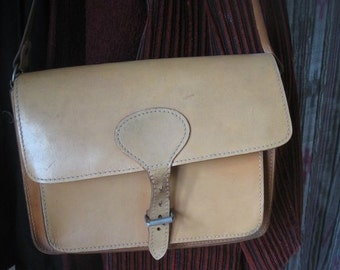 Vintage Leather 70's bag, leather crossbody bag, simple leather bag, brown leather bag