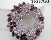 Crown Trifari Brooch Purple Amethyst Rhinestone Pin Book Piece