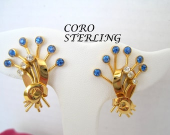 Sterling Gold Overlay Earrings - Coro Signed - Blue Rhinestone - Screw Back
