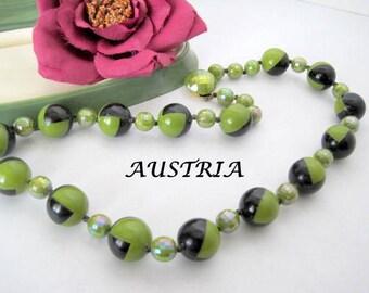 Geometric Bead Necklace - Signed Austria - Green Black Irridescent