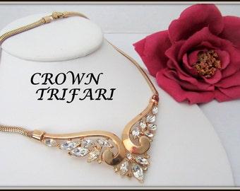 Trifari Rhinestone Choker - Pat. Pend.- Philippe Designed- Wedding Necklace