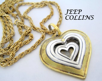 Sterling Heart Necklace Jeep Collins Retired Brass Pendant Chain
