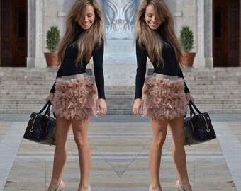 Custom Blush Feather Mini Skirt