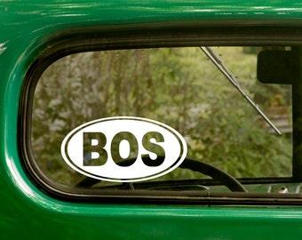Boston Sticker Decal, Massachusetts Decal, Oval BOS Decal, Laptop Sticker, Oval Sticker, Bumper, Vinyl Decal, Car Sticker