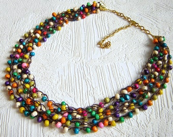 Mix colorful  woods beads crochet necklace. Multistrand necklace. Beadwork necklace