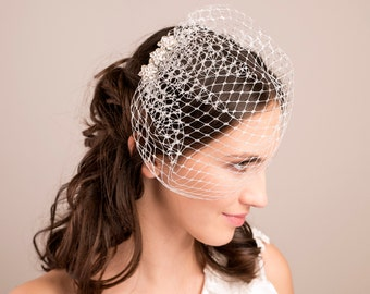 Metallic silver birdcage veil, Wedding birdcage with rhinestones