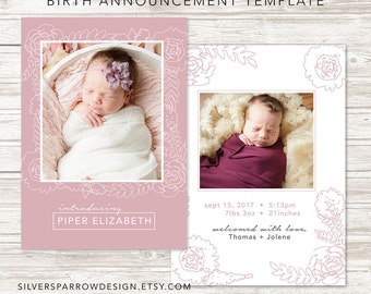 Birth Announcement Template for Photographers, Photo Birth Announcement, Floral Design, Two Sided