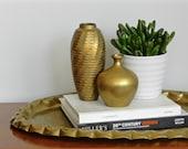 Vintage Brass Vase Pair Small Decorative Bud Vases Matte Brass Finish Anthropologie Boho Chic Decor